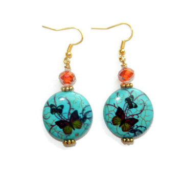 Turquoise and Orange Butterfly Earrings