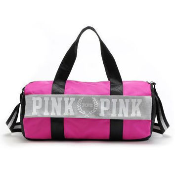 """ Pink "" Printed High Quality Durable Multicolor Victoria's Secret Like Sport Exercise Carry on Yoga Bag Travel Bag Luggage Bag  _ 9308"