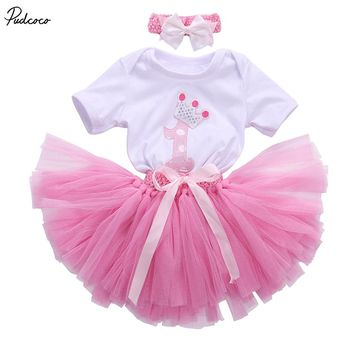 3PCS New Baby Girl 1st Crown Romper Bodysuit Headband Birthday Tutu dress Outfit