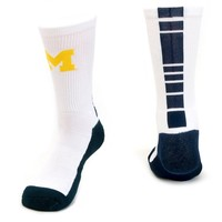 Mojo Michigan Wolverines Champ 1/2-Cushion Performance Crew Socks - Youth, Size: 7-9 (White)