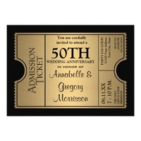 Golden Ticket Style 50th Wedding Anniversary Party Custom Invitation