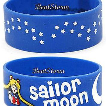 Licensed cool NEW Sailor Moon Girl Blue White Moon & Stars Rubber Bracelet Wristband Jewelry