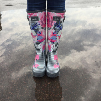 Joules Striped & Floral Rain Boots