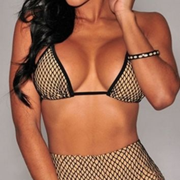 Beige Black Fishnet Mesh Spaghetti Strap Triangle Bra Top High Waist Bikini Two Piece Swimsuit