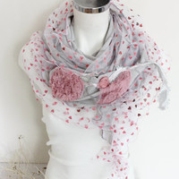 Grey Long Scarf, Pink heart scarf, Silver pink scarf, Extra long gray shawl, Silver gray scarf, Pink gray scarf, Women's fashion, Gray shawl