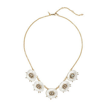 Alexis Bittar Crystal and Stone Studded Small Liquid Silk Bib Necklace