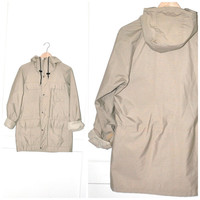 UNISEX khaki parka vintage 80s MEC Mountain Equipment Co-op CINCHED waist anorak long neutral relaxed fitting jacket os