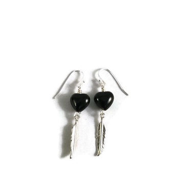 Onyx heart earrings, silver feather earrings, onyx jewelry, heart jewelry, feather jewelry, small drop earrings, gift for her