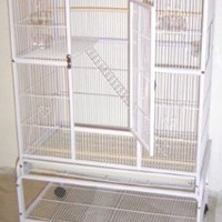 New Large Wrought Iron 4 Levels Ferret Chinchilla Sugar Glider Cage 32-Inch by 19-Inch by 64-Inch With Stand on Wheels *White Vein*