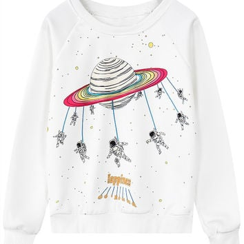 White Outer Space Print Long Sleeve Sweatshirt