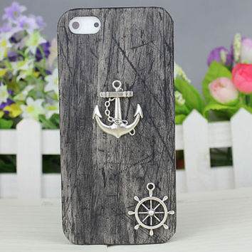 Silver Anchor Black Wood Grain Hard Case Cover for Apple iPhone5 Case,iphone 5 case,iphone 5 cover,iphone 5g case,