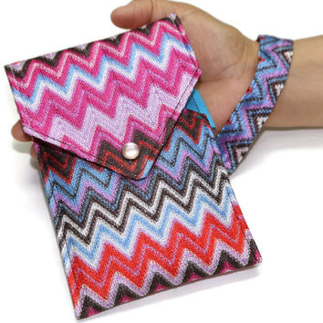 Cell Phone Wallet - Pink red and blue - Andes Tribal Aztec print - Iphone Wallet - Smartphone purse