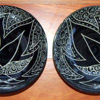 Small bowls black and white daisy design Handmade and hand decorated pair bowls sauces, dessert, prep bowls, spices, mixing, rice bowls