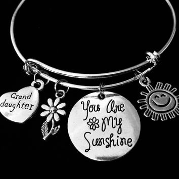Granddaughter Jewelry You Are My Sunshine Silver Adjustable Charm Bracelet Expandable Wire Bangle One Size Fits All Gift Daisy Sun