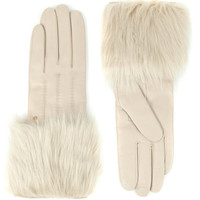 Faux fur trimmed gloves - Taupe | Gloves | Ted Baker