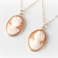 Mother Daughter Cameo Set - Victorian Cameo Pendants - Vintage Cameo Necklace Gift Set