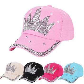 LMFON New Fashion Unisex Baseball Cap Rhinestone Crown Shaped Boy Girls Snapback Hat Casquette hat Sports Outdoors Cap