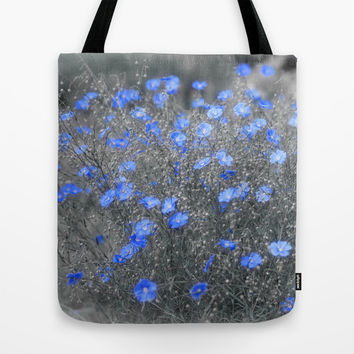 Blue Flowers Garden Tote Bag by Cinema4design