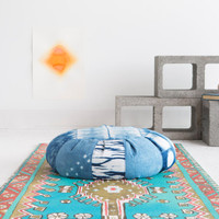 Indigo Dyed Zafu Meditation Cushion: Quilted