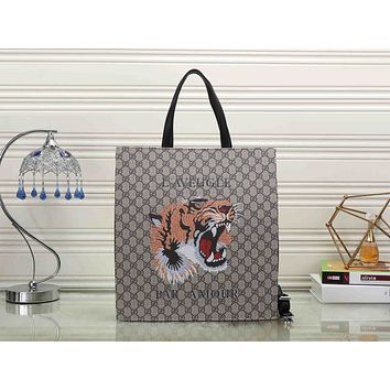 Gucci Women Leather Tiger Snake Print Shopping Tote Handbag Shoulder Bag