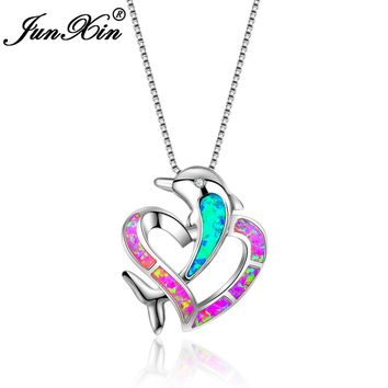 JUNXIN Fashion Female Pink Fire Opal Heart Necklace White Gold Filled Necklaces & Pendants For Women Dolphin Animal Jewelry