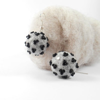 Monochrome Felted Earrings Grey And Black Glass Bead Embroidered Felt Jewelry Needle Felted Earrings
