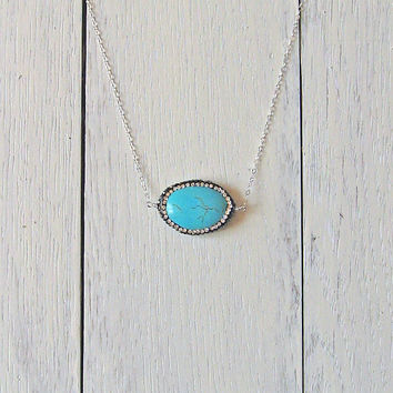 Turquoise Oval Necklace, 925 Sterling Silver, Long Necklace, Turquoise Pendant, Turquoise Necklace, Rhinestone Crystals, Layering Necklace
