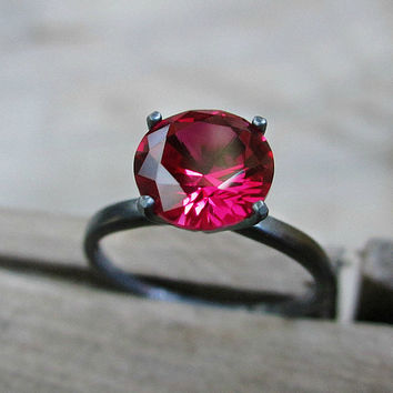Ruby ring - solitaire ring - sterling silver ring - modern ring - oxidized - pink - red - gothic jewelry - minimalist