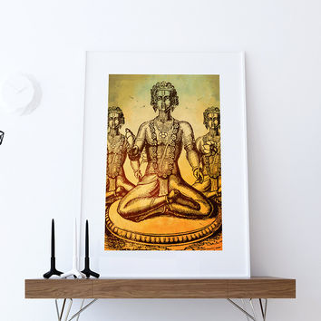 Hindu God Vishnu Print Vintage Hindu Decor Wall Art - Giclee Print on Cotton Canvas and Paper Canvas