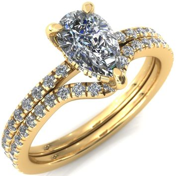 Ezili Pear Moissanite 3 Claw Prong Micro Pave Diamond Sides Engagement Ring