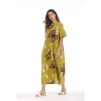 Butterfly Print Hidden Pocket Longline Dress