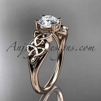 14kt rose gold celtic trinity knot wedding ring, engagement ring CT7169
