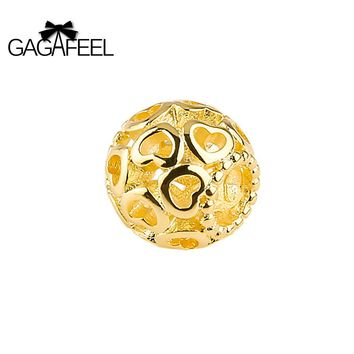 Gold Round Bead Big Hole Beads Charm Bracelets Necklace Chain DIY Accessories Jewelry Gifts
