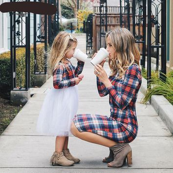 Mother Daughter Long Sleeve Plaid Matching Dress