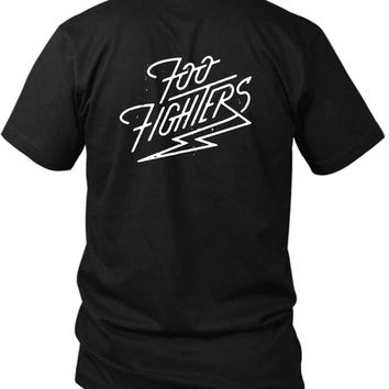 Foo Fighter Logo Lightning Zap 2 Sided Black Mens T Shirt