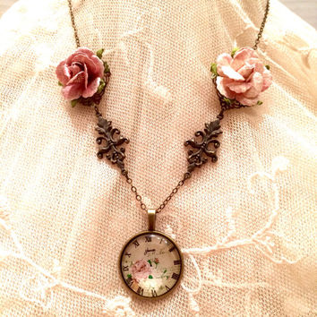 Victorian Necklace, Victorian Jewelry, Rose Necklace, Rose Jewelry, Clock Necklace, Watch Necklace, Victorian Rose, Paper Rose, Victorian