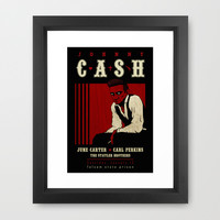 Johnny Cash Framed Art Print by Dellydel
