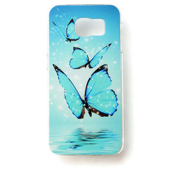 Samsung Galaxy S6 Blue Butterfly Case Hard Plastic Galaxy S6 Cute Romantic Back Samsung S6 Cover Girly Sparkle S121