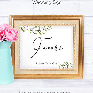 Rustic Wedding Favors Sign, Printable, Watercolor, Wedding Guests, On a Budget Wedding, Favor Sign, Wedding Accessory, Wedding Sign