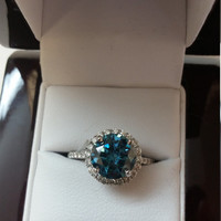 3.00 Carat Ocean Blue SI1 Round Diamond Halo Ring 18K 4 Prong Anniversary Bridal Certified Jewelry + Must See!!