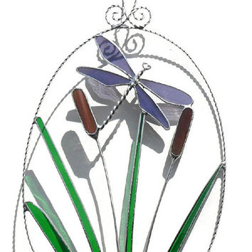 Purple Dragonfly Stained Glass Suncatcher, Purple Stained Glass Dragonfly, Dragonfly Suncatcher