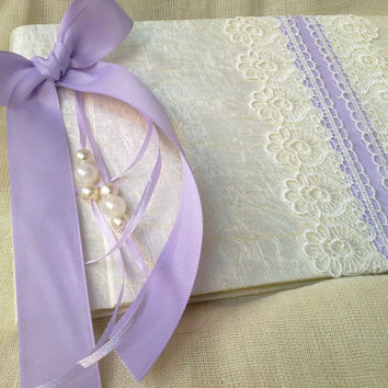 Purple  guest book-Elegant  wedding guestbook - Romantic guest book -Best bridal gift - Lace guestbook