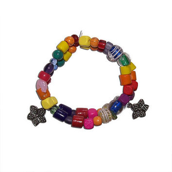 Rainbow Bracelet With Flower Charms