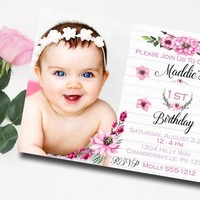 Girls First Birthday Invitation - Photo First Birthday Invitation - PRINTABLE - Bohemian First Birthday Invitation - Pink Birthday Invite