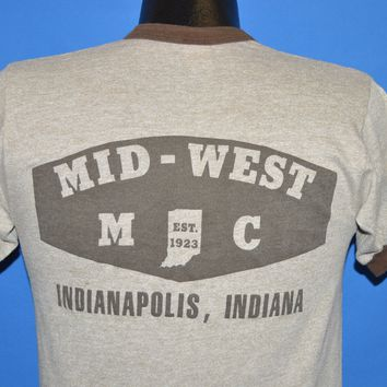80s Mid West Motorcycle Club Rayon Tri Blend Ringer t-shirt Small