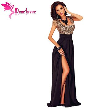 Dear Lover Short Sleeve Summer Women Amazing Gold Lace Overlay Slit Elegant Women Maxi Gowns for Party Vestidos Largos LC60809