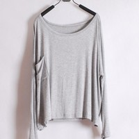 *Free Shipping* Ladies Grey Cotton T-Shirt Top One Size T012g from efoxcity