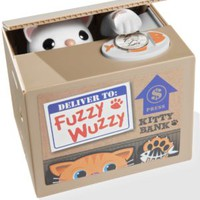 Fuzzy Wuzzy Kitty Bank: Cat-themed Motorized Animatronic Coin Collecting Bank