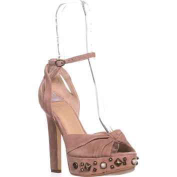 Guess Kenzie2 Studded Platform Sandals, Light Pink Suede, 6.5 US