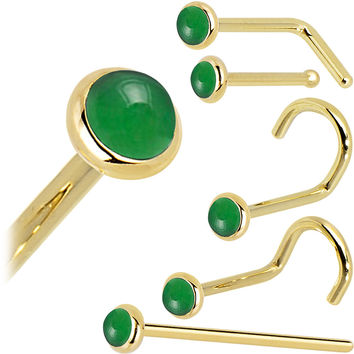 Solid 14KT Yellow Gold 2mm Jade Nose Ring